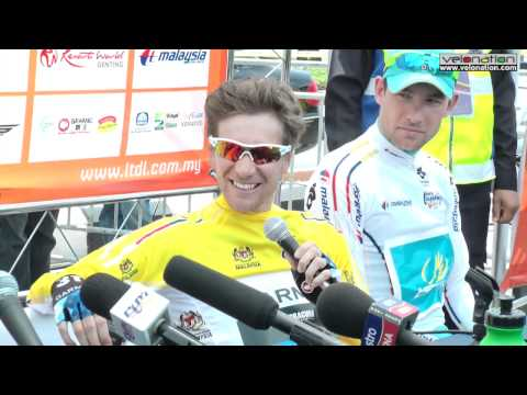 Dave Zabriskie in wacky form at end of stage two of 2012 Tour de Langkawi