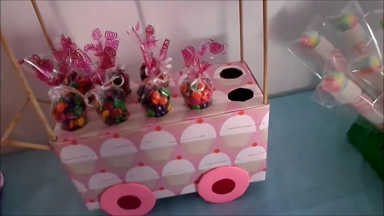 Carrito exhibidor de dulces diy mesa de postres o dulces for Como hacer un bar de madera