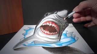 How I Draw a 3D White Shark , Art Drawing