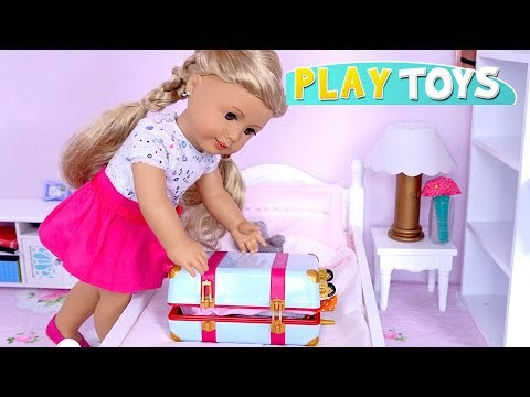 Baby Doll Packing Dresses In Travel Suitcase For Trip With American Girl Doll Toys!