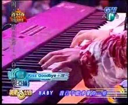 Aaron playing the piano / sings wang leehom's song