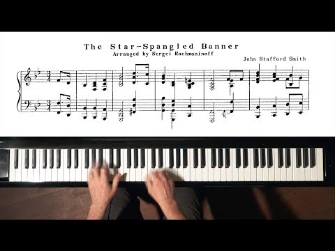 """""""The Star Spangled Banner"""" PIANO (arr. Rachmaninoff) + Slow Tempo TUTORIAL"""