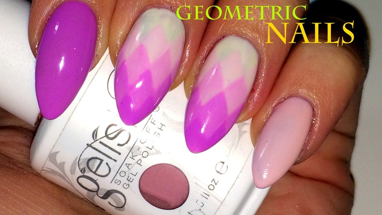 Geometric Ombre Nail Art Design II UV Gel Polish - YouTube