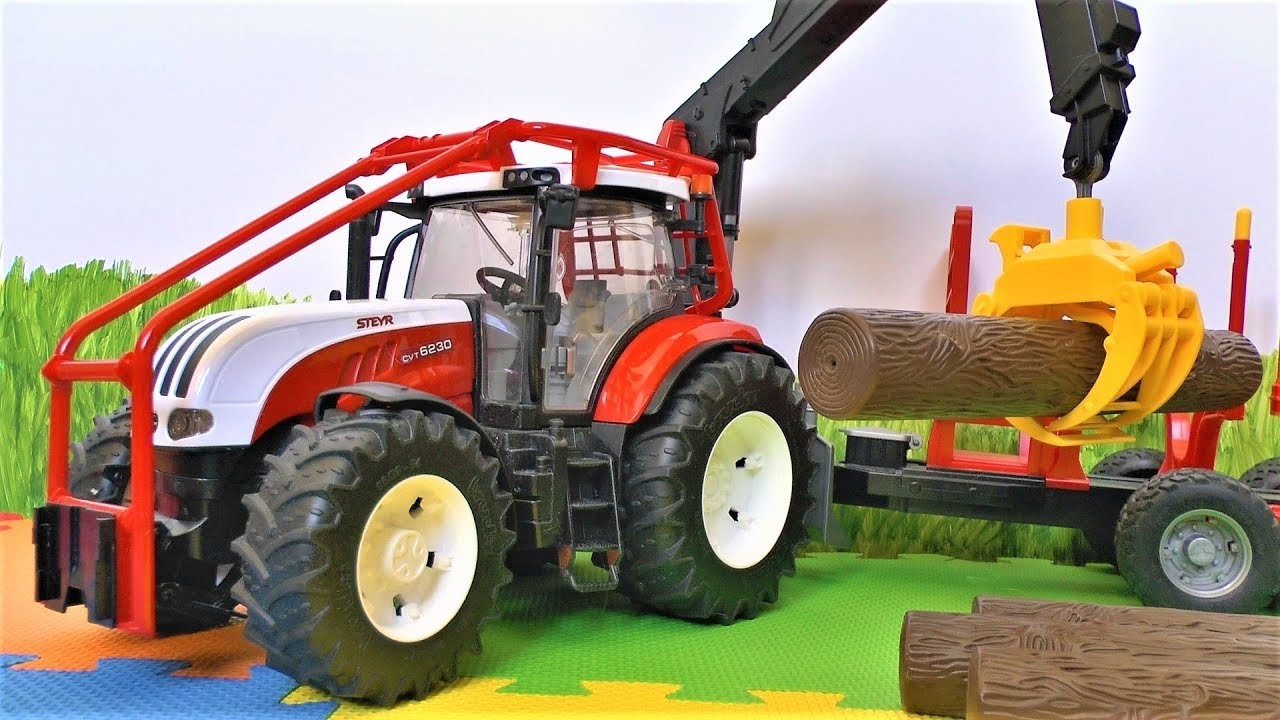 Видео про трактор. Мультики с игрушками для детей.