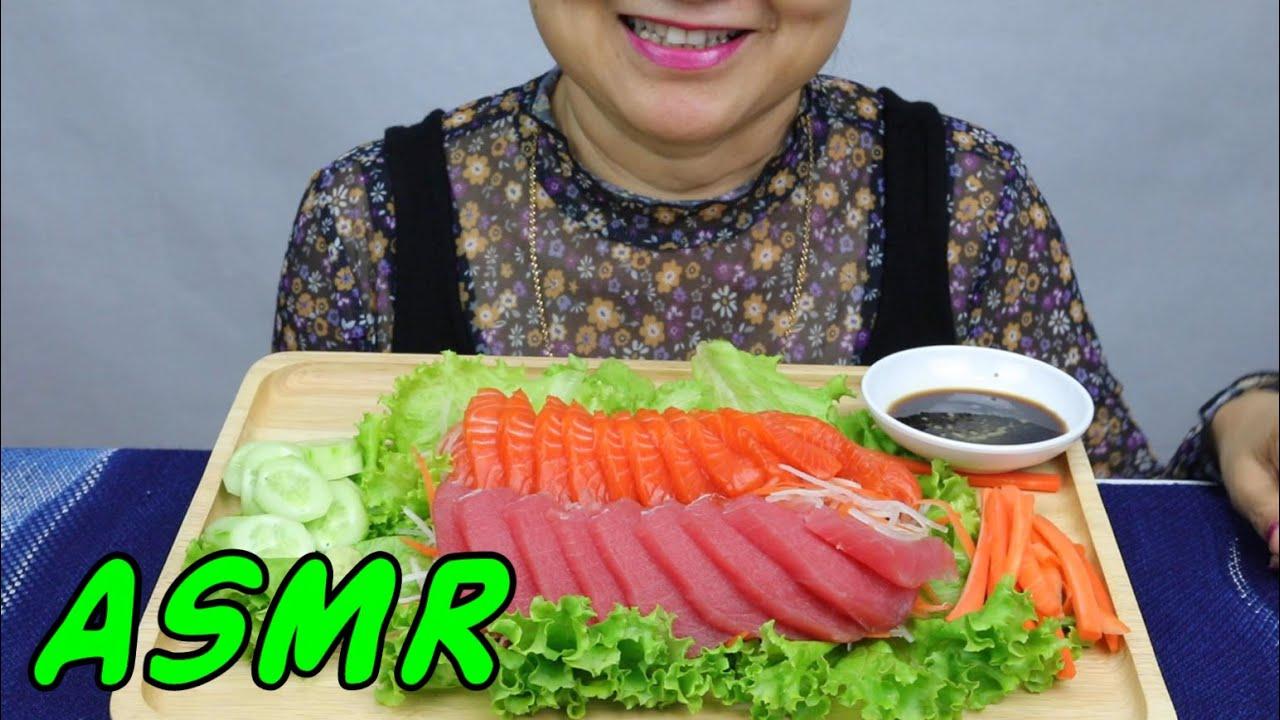 ASMR Norwegian Steelhead Trout & Tuna Sashimi | Eating Sounds | Light Whispers | Nana Eats