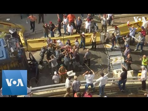 Anti-austerity protest outside PM's office in Beirut, Lebanon