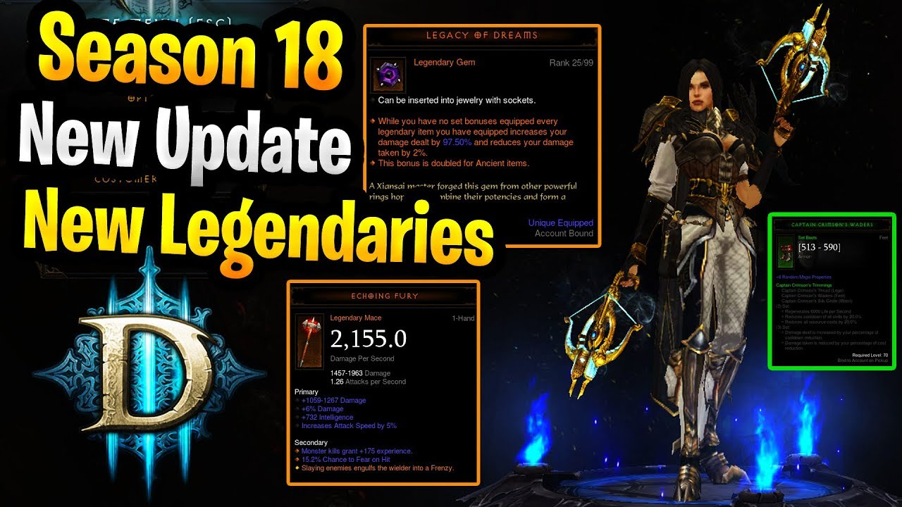 Diablo 3 Season 18 New Update New Items / Gameplay Changes Season of the  Triune PTR Season 18
