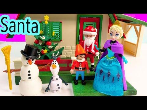 Magiclip Disney Frozen Queen Elsa Santa's Home Christmas Holiday Build A Snowman Olaf Elf Playset