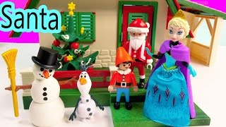 Magiclip Disney Frozen Queen Elsa Santa's Home Christmas Holiday Build A Snowman Olaf Elf Playset
