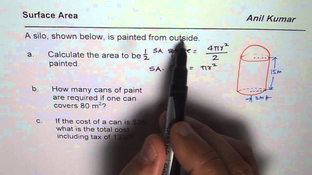 Surface Area of Silo and Cost of Paint CCSS Geometry
