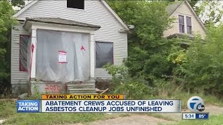 Abatement crews accused of leaving asbestos cleanup jobs unfinished