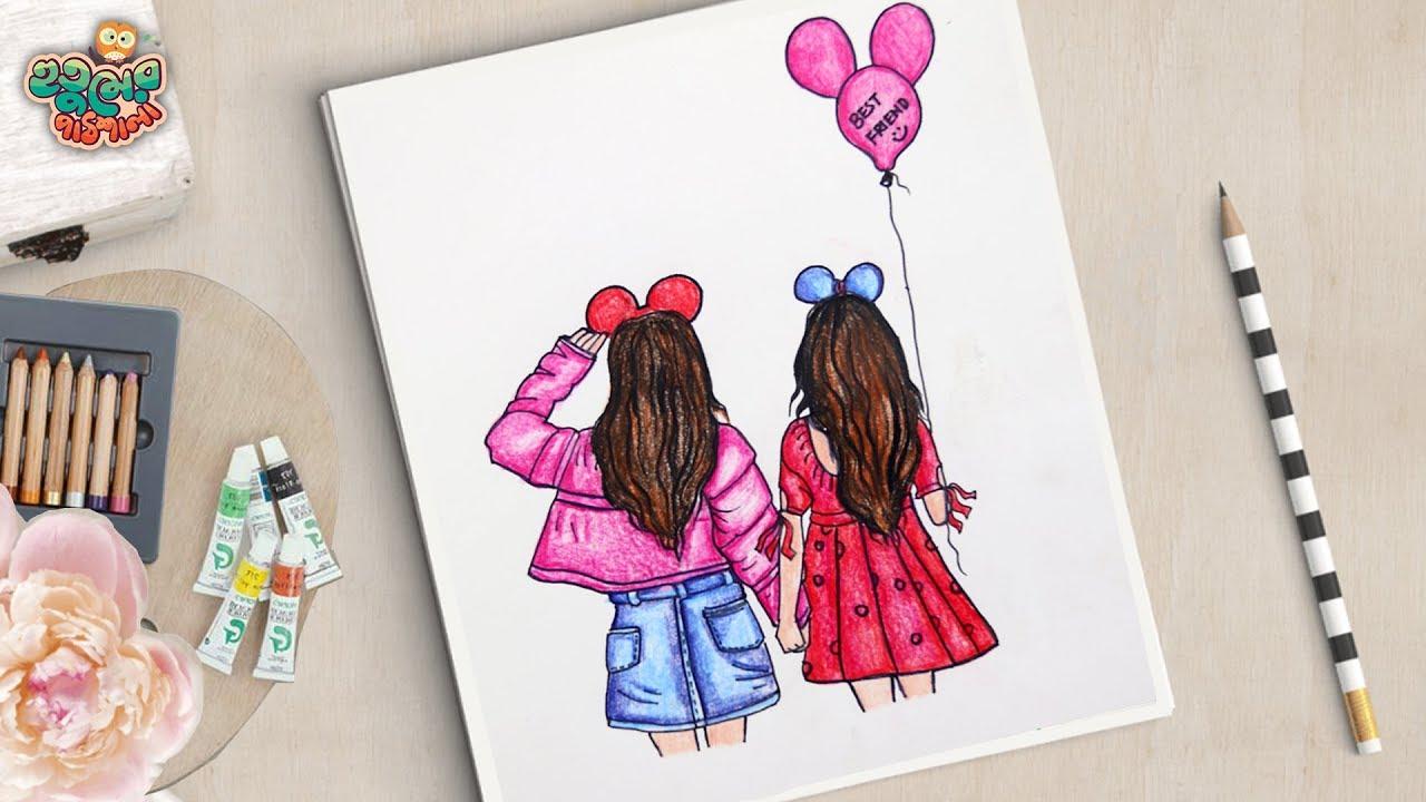 friend drawing draw friendship bff drawings friends cute easy bestfriend sketches sketch
