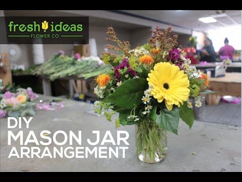 Diy mason jar flower arrangement youtube for How to arrange flowers in mason jar