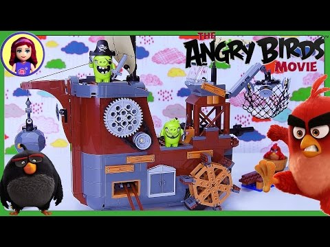 LEGO Angry Birds Piggy Pirate Ship Build Review Silly Play - Kids Toys
