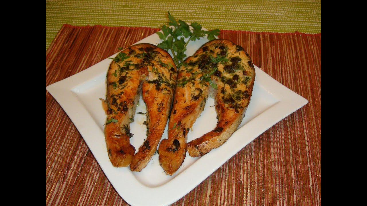 Merry Christmas 2012  How To Broil A Salmon Steak With Butter And Herbs   Youtube