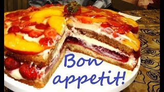 Bon appetit! Фруктовый торт с желейной прослойкой.Рецепт НЕпростой домохозяйки.