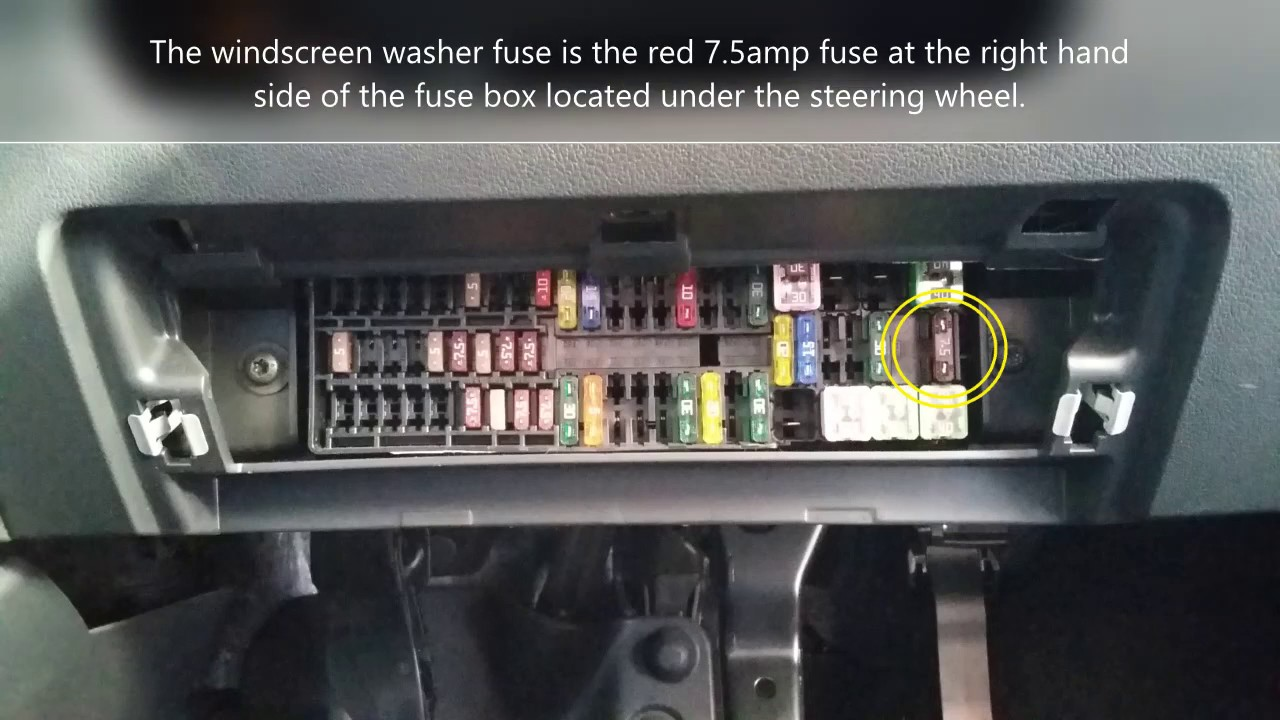 2014 -15 -16 Volkswagen (VW) Polo windscreen washers not working / fuse  location. How to fix/repair. - YouTubeYouTube