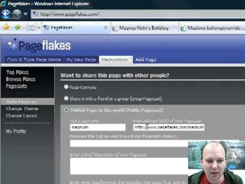 Publiser webside / Make Pagecast i Pageflakes