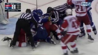 Huge Line Fight Tampa Bay Lightning vs Detroit Red Wings 2016 Stanley Cup Playoffs Rd 1 Game 2 NHL