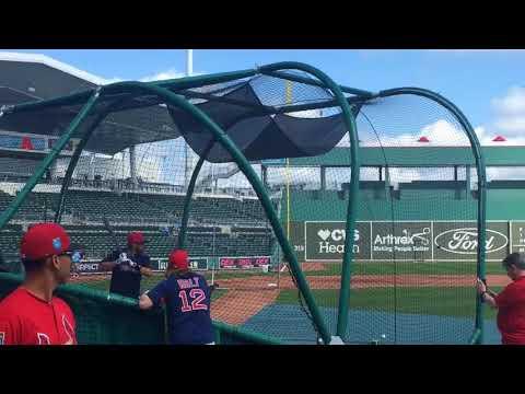 J.D. Martinez, Boston Red Sox slugger, takes batting practice at JetBlue Park (Feb. 27, 2018)