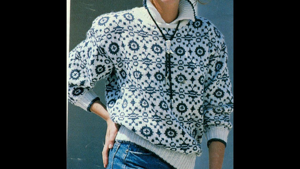 Patrón para tejer suéter a punto jacquard - YouTube