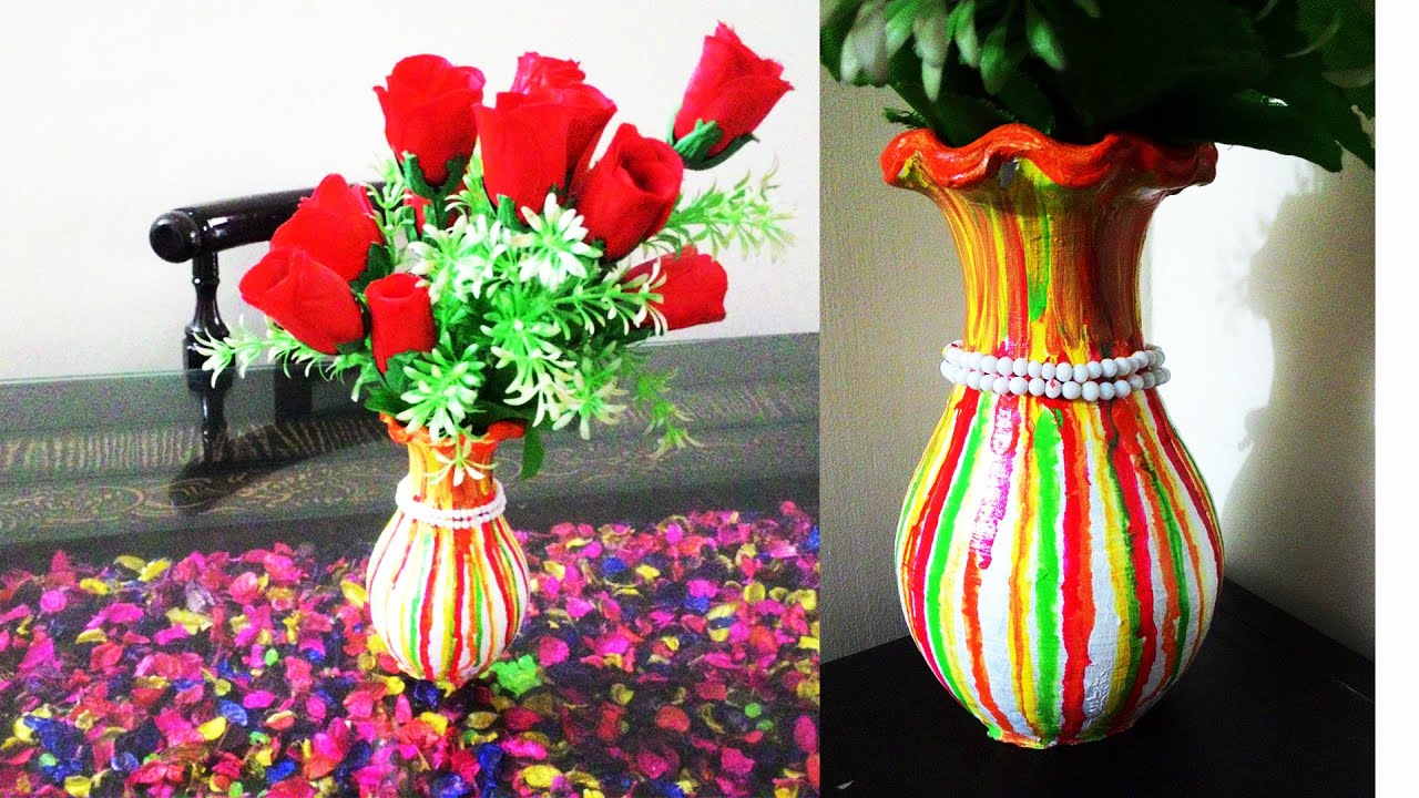 How to make beautiful flower vase diy flower vase painting youtube how to make beautiful flower vase diy flower vase painting reviewsmspy