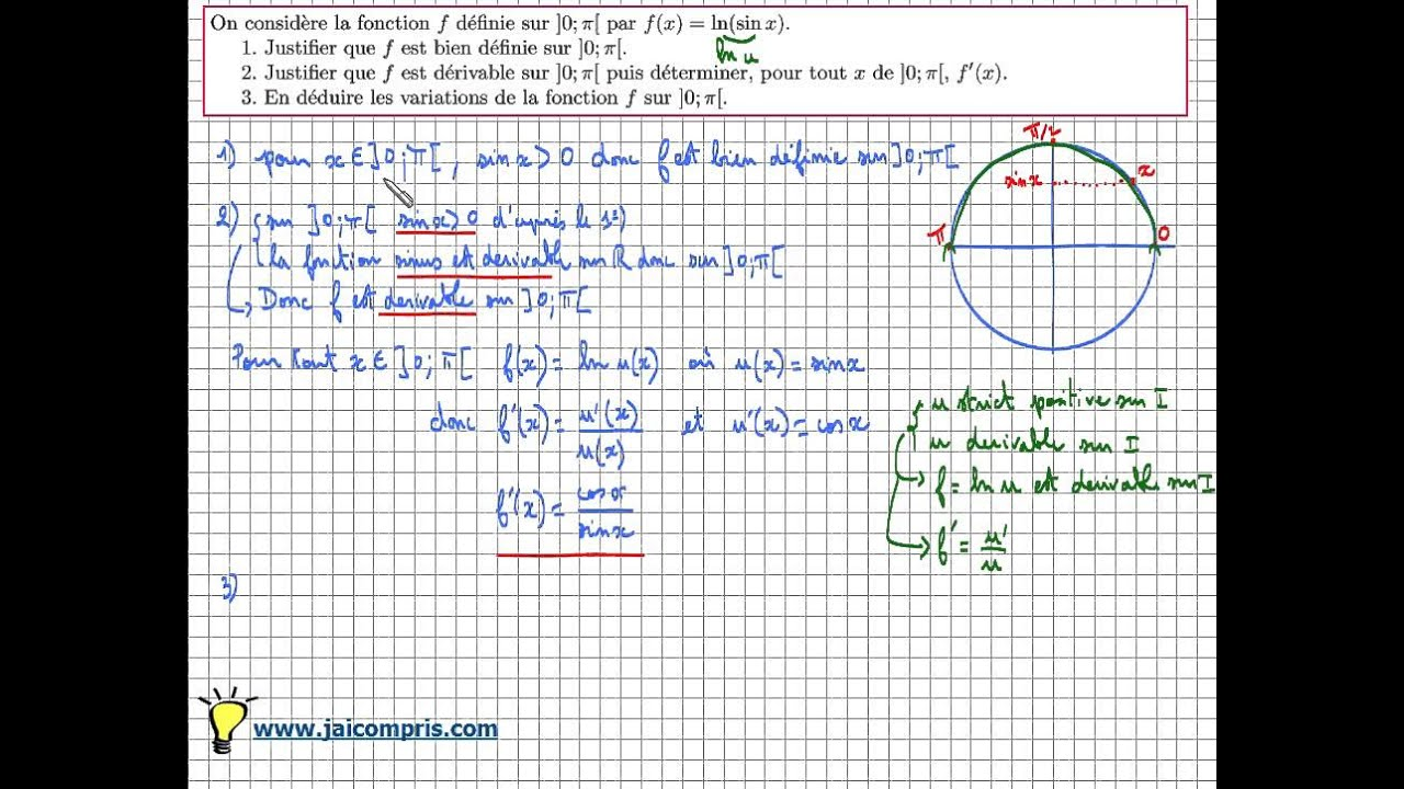 Fonction logarithme népérien - Exercice f(x)=ln(sin x) dérivée et tableau de variation - type ...