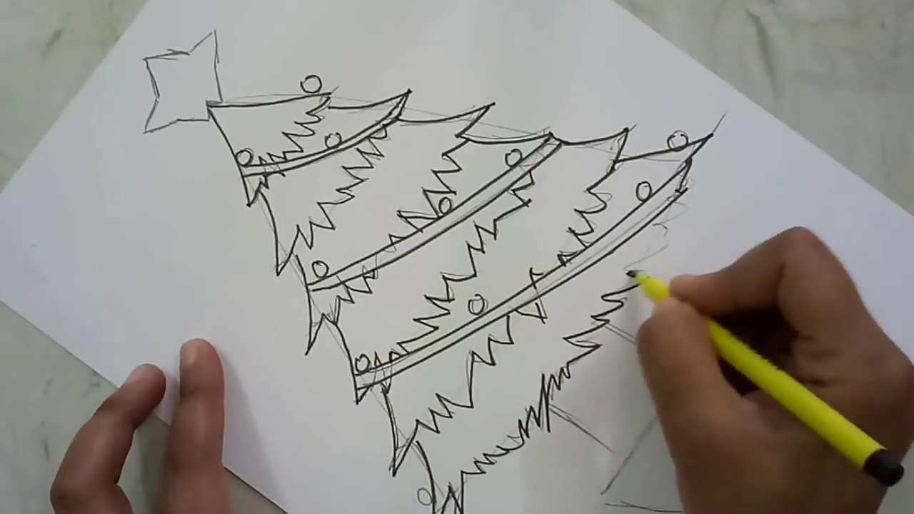 Draw And Colour Christmas Tree Step By Step Christmas Craft Craftlas Youtube