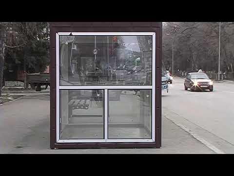 Производится монтаж остановочных павильонов по улице Ленина