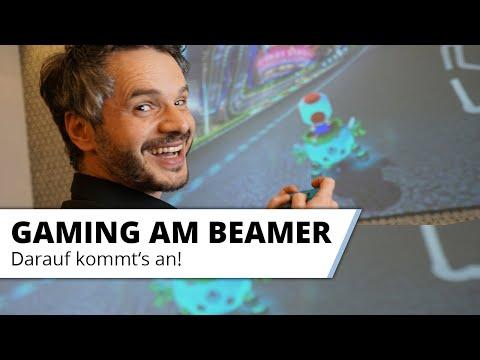 Gaming am Beamer und Laser TV macht großen Spass auf riesigen 100 Zoll Bildgröße!