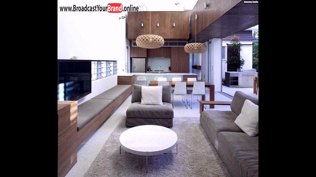 wohnzimmer k che in einem holzm bel graue polsterung wei youtube. Black Bedroom Furniture Sets. Home Design Ideas