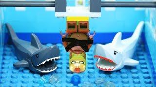 Lego Shark Attack vs Super Heroes | Brick Creation 🔴50: Ironman training on beach