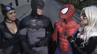 SPIDER-MAN & BATMAN Tell Stupid Cat Jokes - Real Life Superhero Movie - TheSeanWardShow