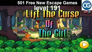 [walkthrough] 501 Free New Escape Games Level 191   Lift The Curse Of The Girl   Complete Game