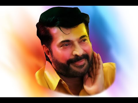 smudge art on  Indian film actor Mammootty II Photoshop cc 2018