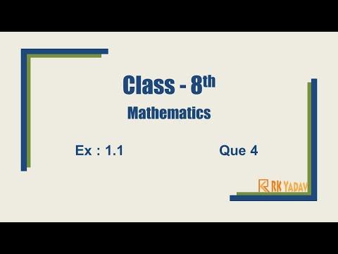 Ex 1.1 Q 4 Class 8 Chapter 1 #RationalNumber @RK Yadav