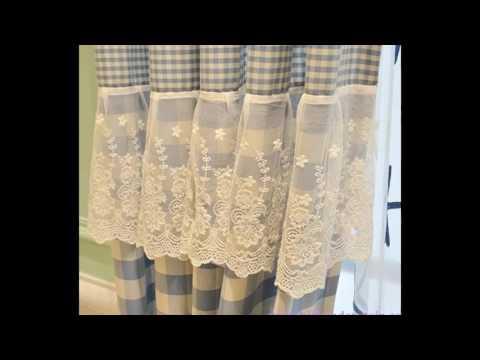 Pastoral Linen Blue Plaid Country Curtain HDCN1701071306235