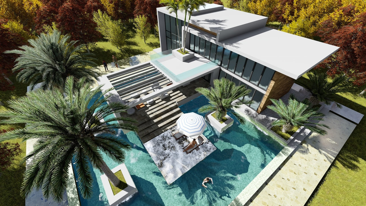 Sketchup drawing 2 stories modern villa design with for Pool villa design