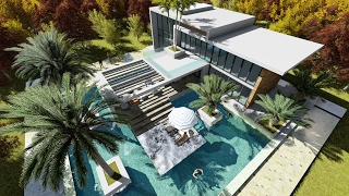 Sketchup Drawing 2 Stories Modern Villa Design with exclusive pool