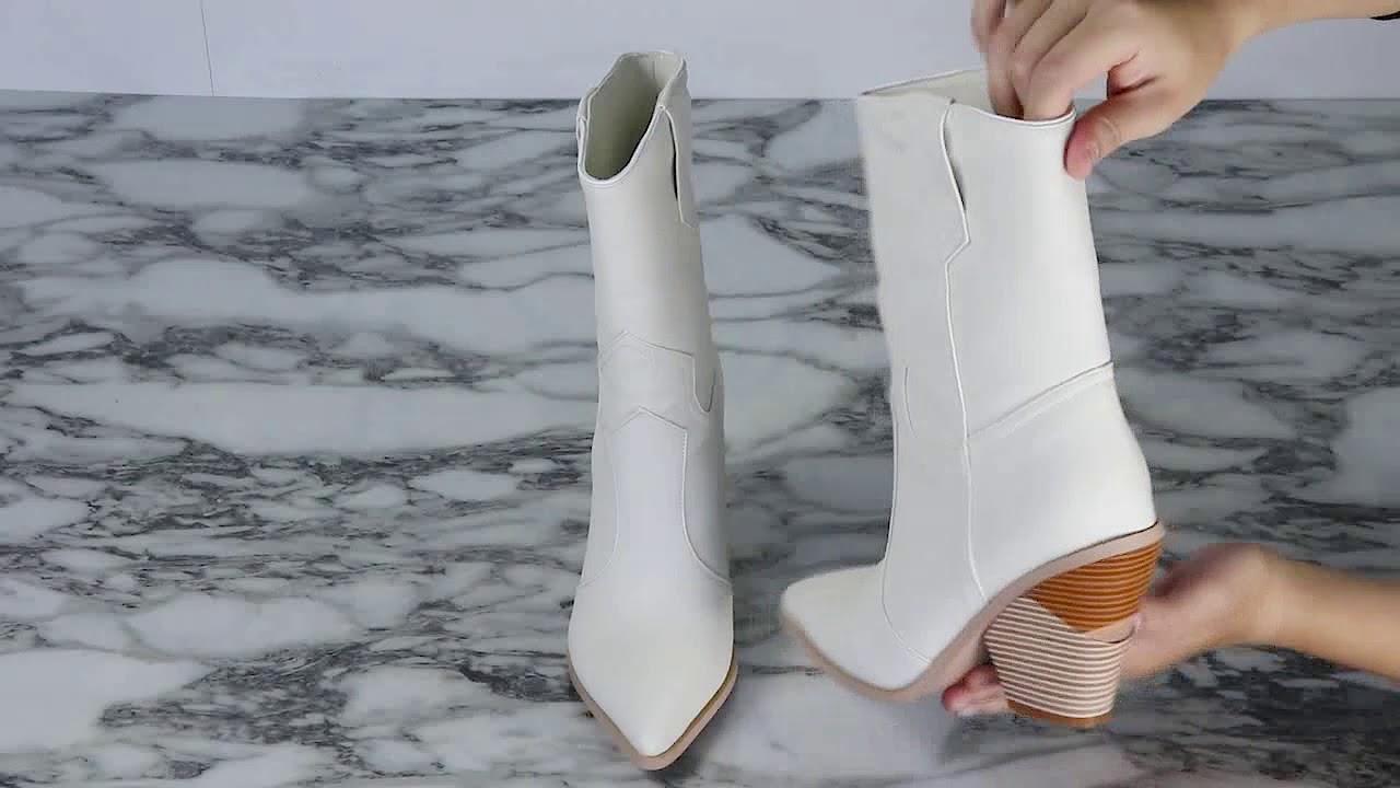 895954ca526 GESA Sculptured Heel Western Cowboy Ankle Boots - JESSICABUURMAN