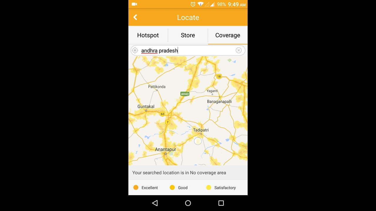 Reliance Jio G Tower Signal Coverage Map View Andhra Pradesh India - 4g network map