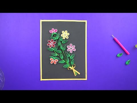 Quilling flowers for Beginners   Simple DIY Paper Craft   wall hanging craft ideas
