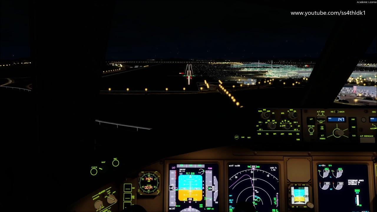 P3D v4 5 PMDG 777 Pacsim[PIS] Incheon night landing at rwy 34 on vatsim