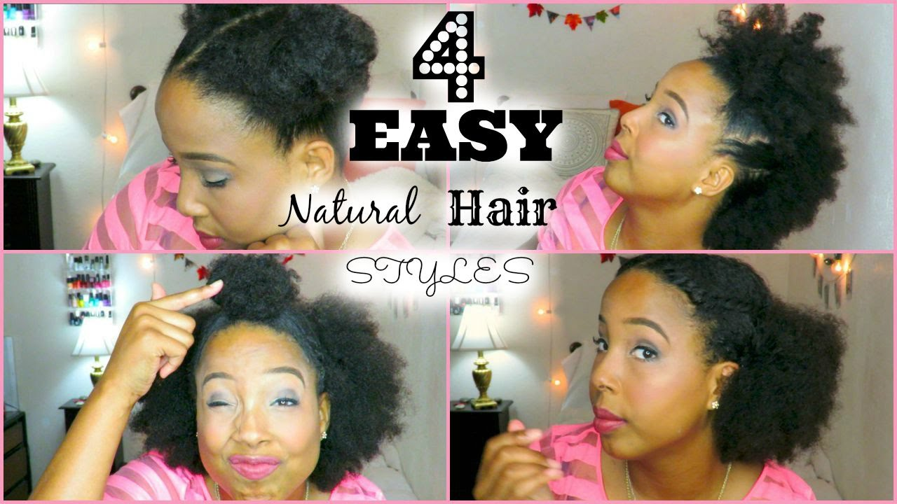 four easy quick hairstyles for short medium natural hair youtube