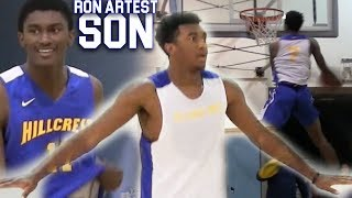 #1 Sophmore Kyree Walker GOES OFF at NEW HIGHSCHOOL with Ron Artest III! CRAZY GROWN MAN BOUNCE!
