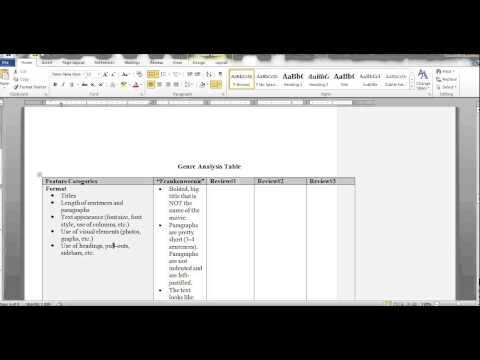 genre analysis worksheet