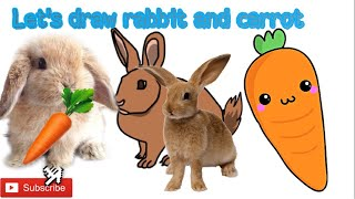 #CartoonDrawing RABBIT AND CARROT DRAWING FOR KIDS| HOW TO DRAW THE PICTURE OF ANIMALS