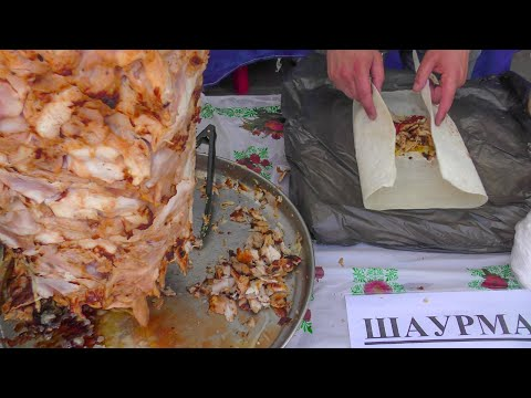Azerbaijan Street Food. Huge Chicken Shawarma, Sheep Skewers and More Seen in Minsk, Belarus