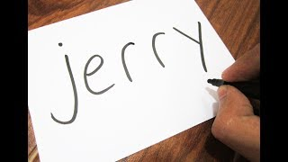 How to turn words JERRY ( Tom & Jerry ) into a Cartoon ! Learn drawing art on paper for kids