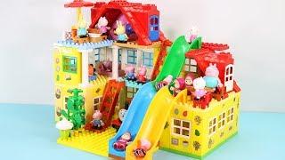 Peppa Pig Blocks Mega House Toys For Kids - Lego Duplo House With Water Slide Construction Sets #3